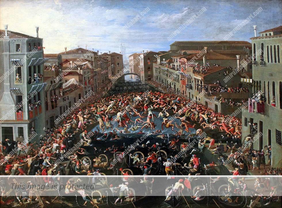 Joseph Heintz the younger , התחרות על גשר האגרופים בונציה, 1673 המוזיאון הלאומי הגרמאני נירנברג.