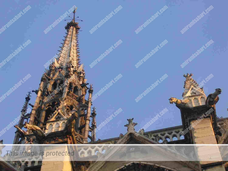 גרגוילים מעטרים את כנסיית הסן שאפל פריז