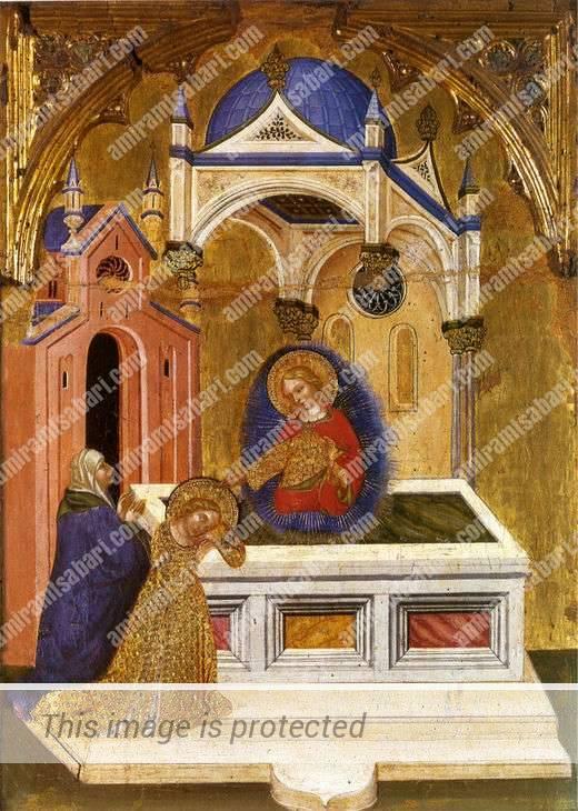 אוטיקיה ולוצ'יה מתפללות על קברה של סנטה אגאתה. ג'אקובלו דל פיורה, 1410.