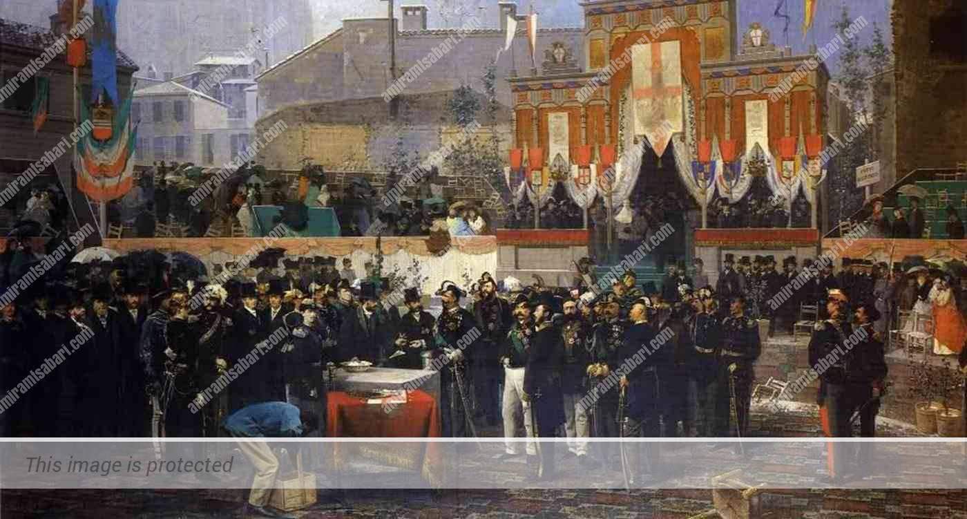 המלך ויטוריו עמנואל ה-2 מניח את אבן הפינה לגלריה, דומניקו אינדונו, 1865.