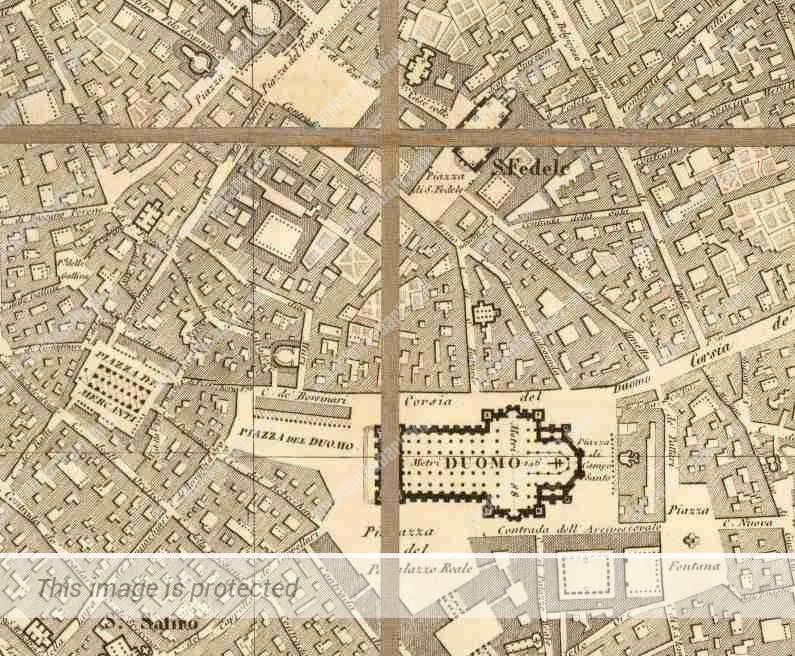 אזור הדואומו, 1860, שנים ספורות לפני הקמת גלריה ויטוריו עמנואל.