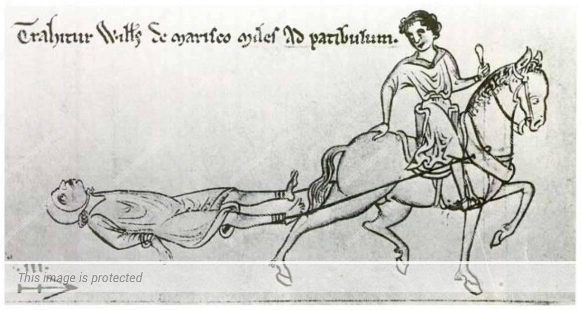 """פושע נגרר ע""""י סוס, ציור מן המאה ה-13."""