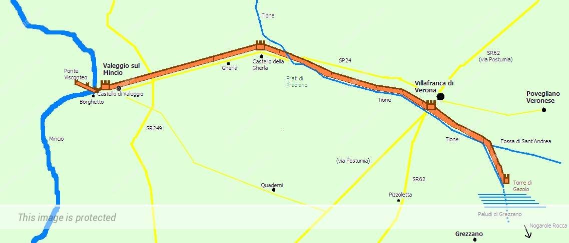 קו הביצורים של הסראליו (Il Serraglio) מקסטלו די וילאפרנקה במזרח לקסטלו די ולג'ו במערב.